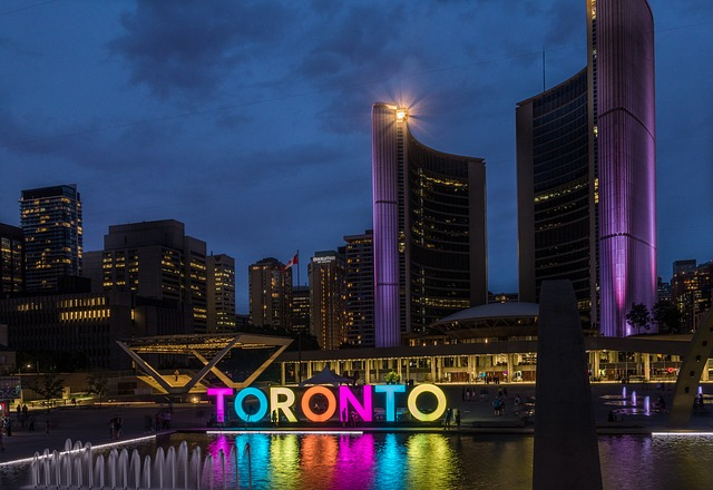 Skyline Town Hall Canada Toronto Ontario Night